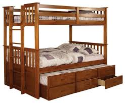 University Oak Twin Over Twin Size Bunk Bed Trundle and Drawer