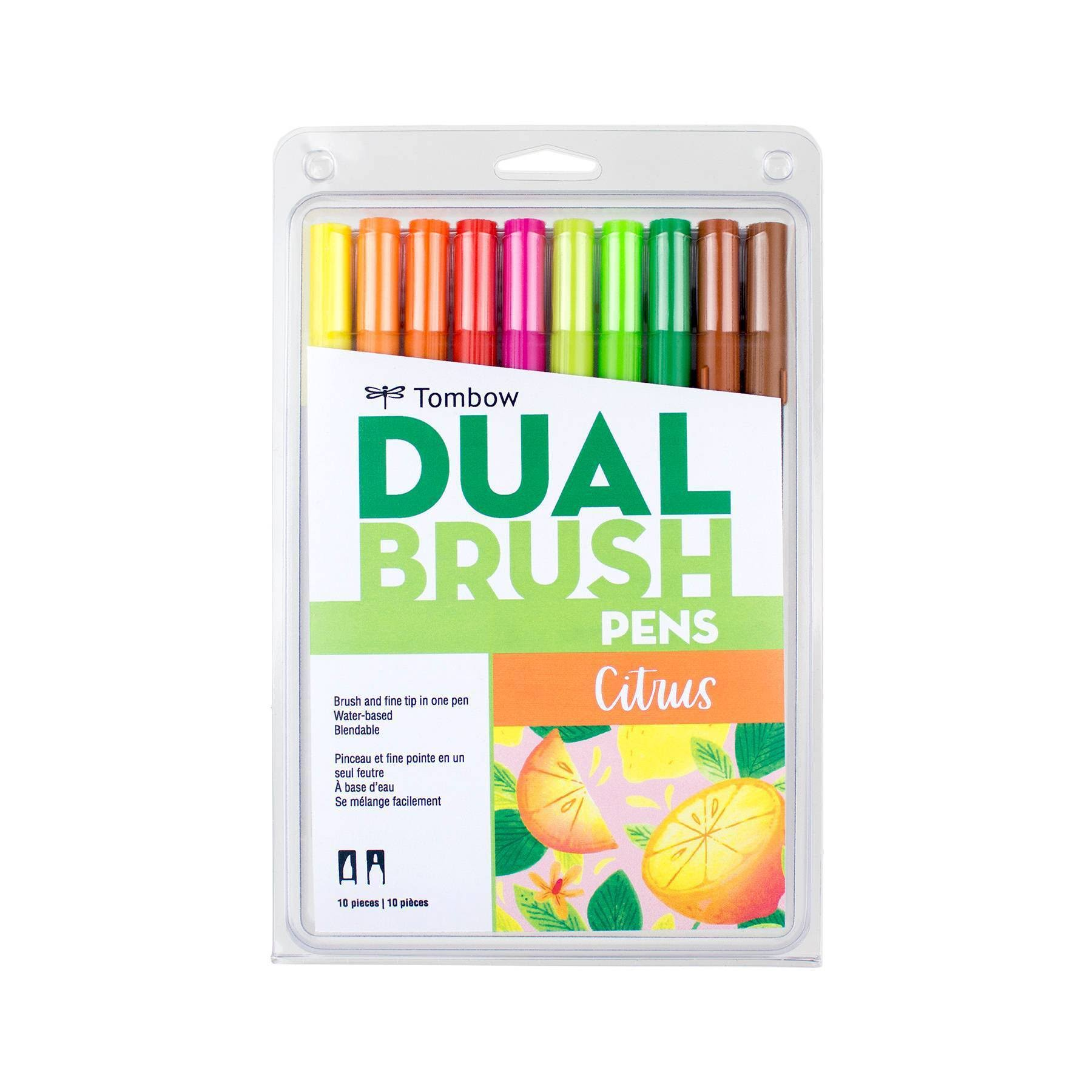 Tombow Dual Brush Pen Art Markers, Citrus, 10-Pack