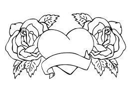 Full Size Of Coloring Pagesdecorative Roses Pages With Heart Center For Kids Large