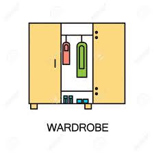 schrank flach symbol hochwertige umriss piktogramm element für schlafzimmer des innenraums vector linie illustration der schrank für web design