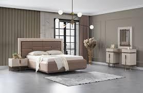 lidya schlafzimmer set mit stauraumbett lucca braun creme