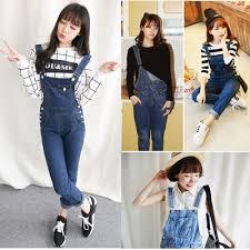 Korean Style Women Denim Jeans Suspender Pants Trousers