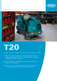 Riding Floor Scrubber Training by T20 Ride On Scrubber Dryer Tennant Pdf Catalogue Technical