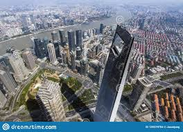 100 Birdview Of Shanghai City From Top Of Shanghai Tower Editorial Stock