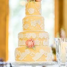 Pale Yellow White Lace Inspired Fondant Detailed Wedding Cake