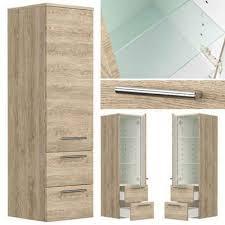 lomadox hochschrank abuja 02 maputo 02 badezimmer midischrank in eiche hell abuja 02 mit glaseinlagen b h t 35 120 36cm