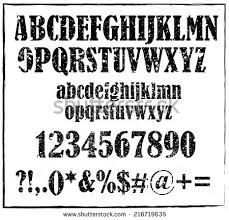 Old Maroon Retro Rubber Stamp Style Alphabet With Numbers And Signs Vector