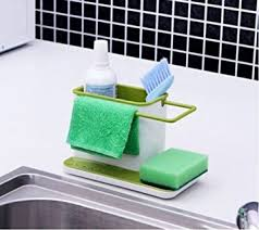 glive s self draining sink tidy with suction cup organizer brush
