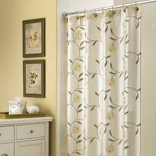 Yellow White And Gray Curtains by Long White Curtain With Yeloow Flowers And Green Leaves Placed On