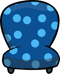Custom Furniture Blue Chair With Polka DotsPNG