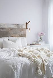 All White Bedroom Rustic Barnwood Headboard