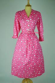 1950s vintage dress pink with white polka dots and belt mela
