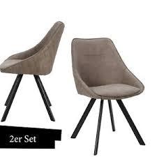 details zu stuhl taupe braun esszimmerstuhl gesteppt 2er set wohnzimmer stühle leder optik