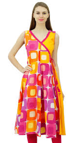 phagun multicolor cotton tunic dress wrap style sleeveless kurti