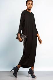 modest long sleeve oversized jersey maxi dress black memdalet