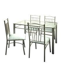 Furniture Elegant Ms Dining Tables 8 Gray Stain Metal Table Legs Skirt Clear Glass Top Spindle
