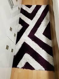 3 teilige teppich set für schlafzimmer weiß lila