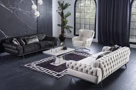 casa padrino luxus deco chesterfield wohnzimmer sofa cremefarben silber 240 x 95 x h 63 cm luxus wohnzimmer möbel