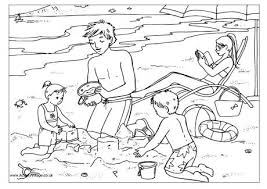At The Beach Colouring Page