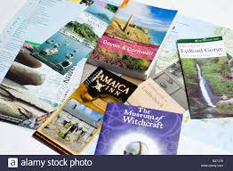 A Selection Of Travel Guide Books And Leaflets About Cornwall In England UK