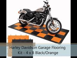 harley davidson garage flooring kit 4 x 8 black and orange