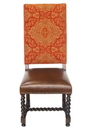 Orange Chenille Barley Twist Dining Chair