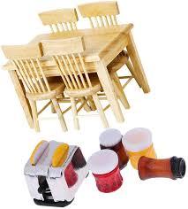 flameer 3 stücke miniatur esstisch mit 2 stühle holzmöbel