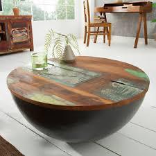details zu massiver couchtisch jakarta 70cm grau rund recyceltes holz wohnzimmertisch