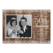 50th Wedding Anniversary Party Rustic White Lace Wood Card