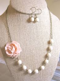 Set Of 6 Bridesmaid Jewelry Sets Flower Statement Necklace Peach Wedding Rustic