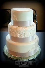 Lace Inspired Fondant Wedding Cake Done In A Light Mint With White Piping Appliques And Silver Ribbon To Finish