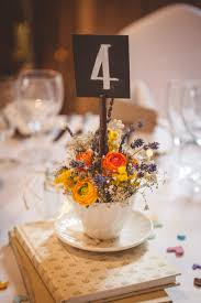 Rustic Romantic Barn Wedding Table Decor With Tea Cups Wild Flowers Photo By Heline