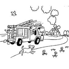 Fireman On The Way To House Fire Coloring Pages