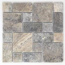 shop avenzo silver versailles mosaic travertine floor and wall
