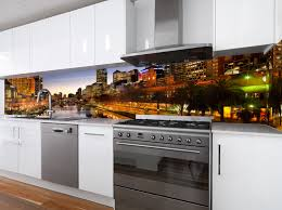 VR Art Glass Printed Splashback Melbourne Skyline Image By Visual Resource