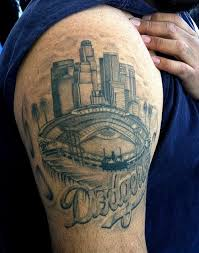 Any Los Angeles Natives Heart Swells With Pride Upon Seeing This Tattoo Of Dodger Stadium And The Downtown City Skyline Right Behind It Classic LA