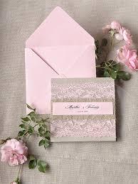 Rustic Pink Lace Wedding Invitation Pocket Fold Invitations