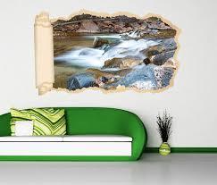 3d wandtattoo tapete wasser wasserfall steine wald landschaft durchbruch selbstklebend wandbild wandsticker wohnzimmer wand aufkleber 11o1939