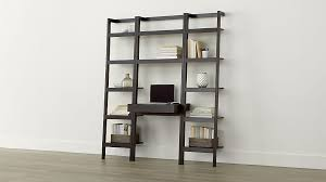 sawyer mocha leaning desk with two 18 bookcases crate and barrel