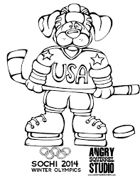 FREE OLYMPIC COLORING PAGE Hockey Dog DOWNLOAD HERE Angrysquirrelstudio Downloads Color Winterolympics 2014 Hockeypdf