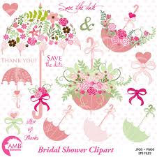 Wedding Clipart Bridal Shower Save The Date Floral Umbrella Commercial Use AMB 871