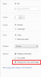 On The Dialog That Pops Up Ensure Background Colors And Images Is Selected
