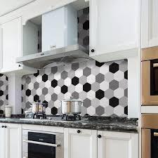 weiß schwarz grau hexagon wasserdicht abnehmbare küche wand fliesen aufkleber buy kitechen wandfliese aufkleber küche fliesen dekoration