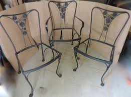 Vintage Woodard Patio Chairs by 3 Vintage Woodard Wrought Iron Daisy Back Patio Garden Chairs Mid