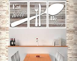 Eat Well Be Happy Modern Kitchen Art Shabby Chic Wall Decor