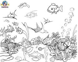 Under The Sea Tropical Aquarium Tank One Fish Two Red Blue Coloring Pictures For Kids