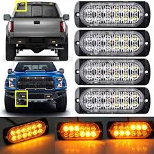 12 LED Strobe Light Bar AMBER Truck Hazard Beacon Flash Warn ...