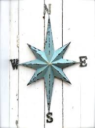 Nautical Metal Decor Compass Wall Art Rustic Home Decorating Hanging Arrow Native Lovely Old Gold Brown Wash Featuring