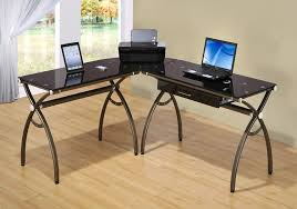 amazon com tempered glass l shaped corner desk with drawer color