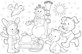 Preschool Winter Coloring Pages Sheets With Color Page Fresh Picture Animals
